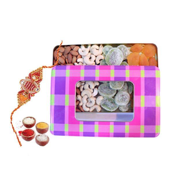 Nutraj Mixed Dry Fruit Gift Pack 400g for Rakhi (Almonds, Cashews, Kiwi, Apricots, Rakhi, Roli-Chawal) - Tin Box