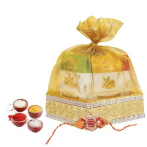 Nutraj Mixed Dry Fruit Gift Pack 1Kg for Rakhi (Almonds, Cashews, Raisins, Pistachios, Walnuts, Rakhi, Roli-Chawal)