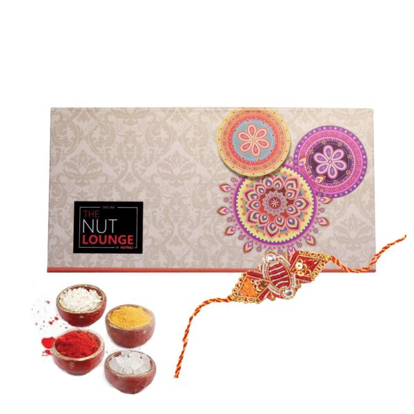 Nutraj Mixed Dry Fruit Gift Pack 400g for Rakhi (Almonds, Cashews, Kiwi, Apricots, Rakhi, Roli-Chawal) - Splendour Box