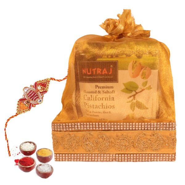 Nutraj Mixed Dry Fruit Gift Pack 950g for Rakhi (Almonds, Cashews, Cranberries, Pistachios, Rakhi, Roli-Chawal)