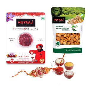 Nutraj Dry Fruit Gift Pack 100.5g for Rakhi (Almonds, Saffron, Rakhi, Roli-Chawal)