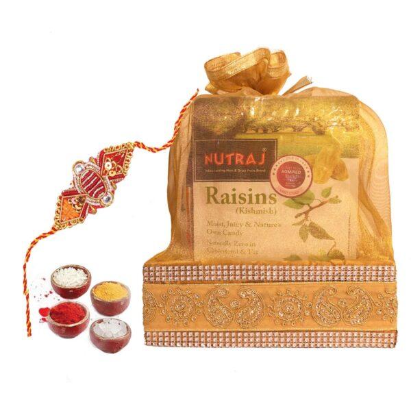 Nutraj Mixed Dry Fruit Gift Pack 1Kg for Rakhi (Almonds, Cashews, Raisins, Pistachios, Rakhi, Roli-Chawal)