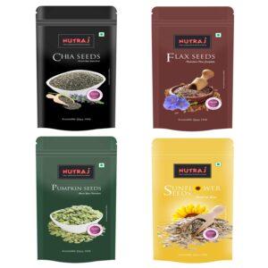 Nutraj Seeds Pack (Flax, Chia, Sunflower, Pumpkin) 200gm Each